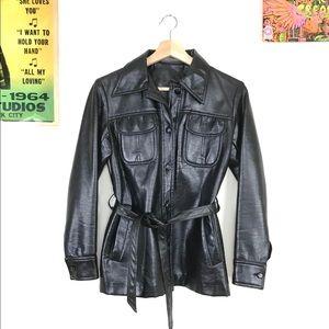 Vintage 1970s mod black faux leather belted jacket